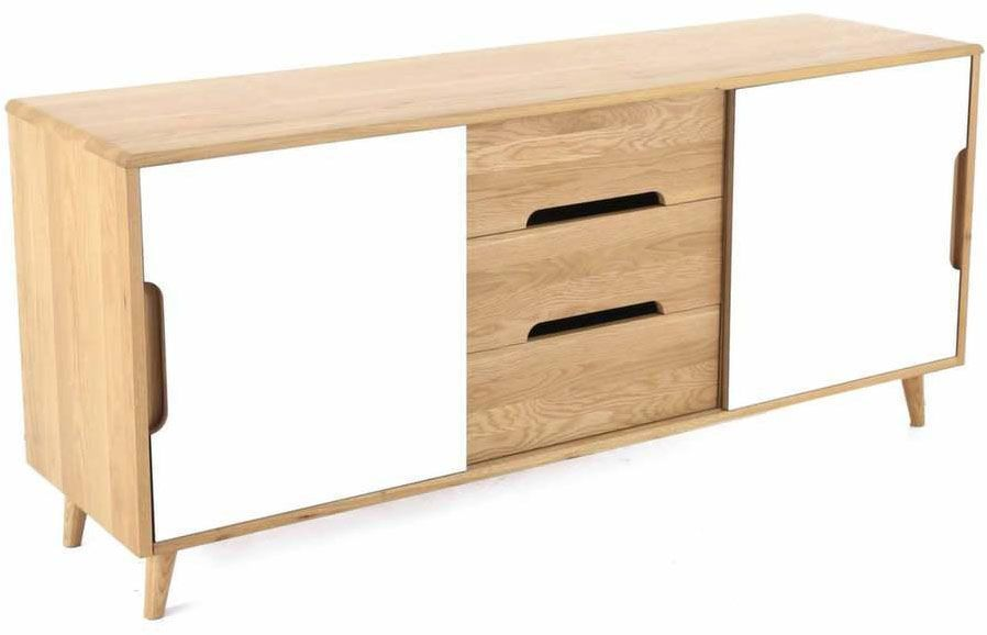 meuble bas 2 portes coulissantes et 3 tiroirs elfy