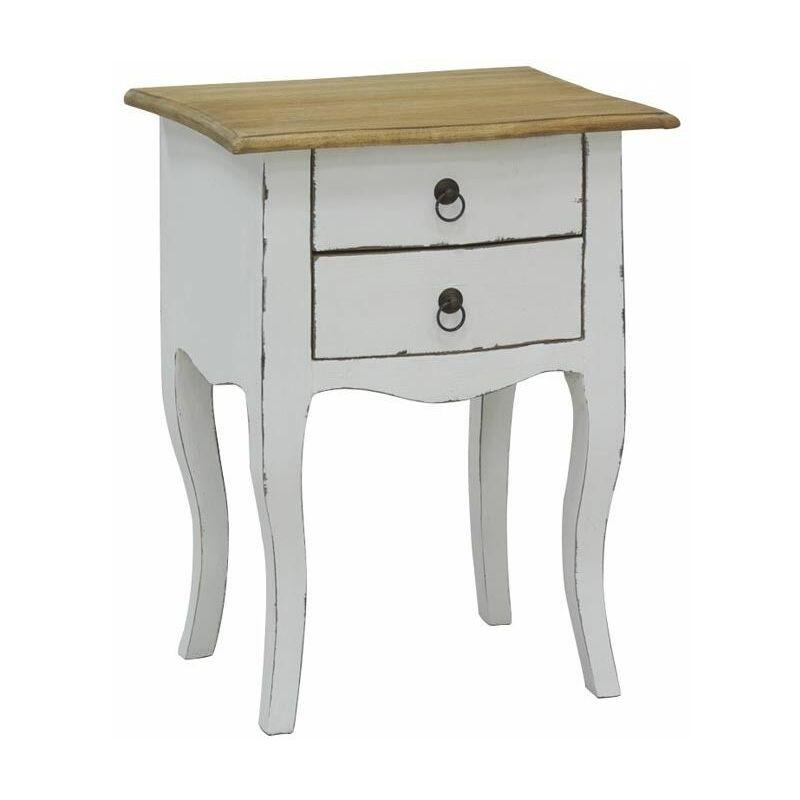 table de nuit 2 tiroirs en bois blanc