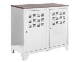 armoire de rangement metal 2 portes blanc