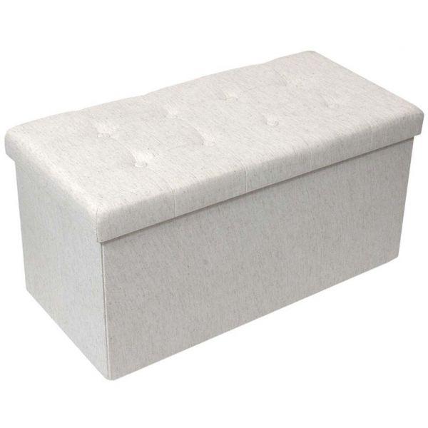 banc coffre pliable en tissu couvercle capitonne lisa beige