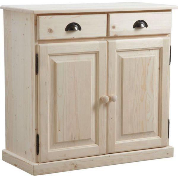 buffet en bois brut 2 portes 2 tiroirs