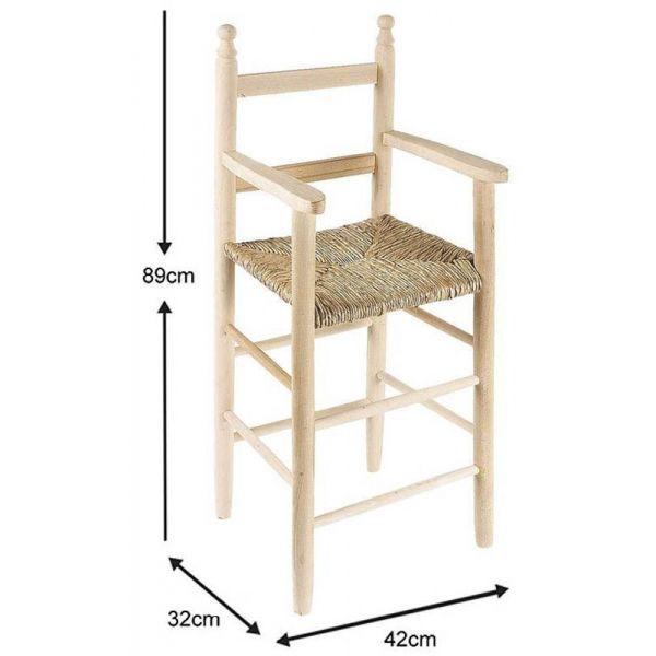 chaise haute pour enfant en hetre brut