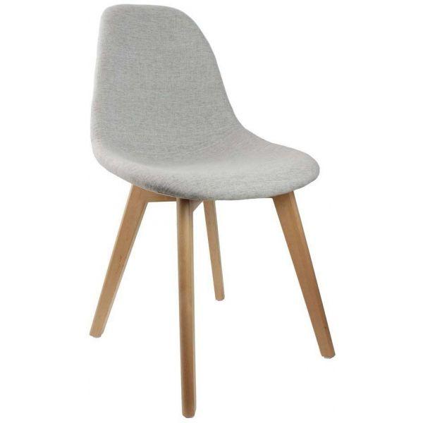 chaise scandinave en tissu et pieds en bois gris