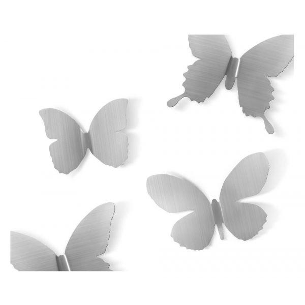 deco murale papillons metal lot de 9 nickel