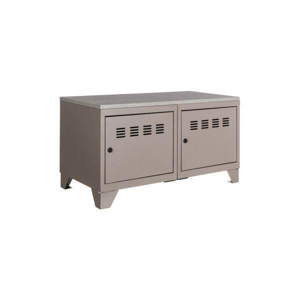 meuble bas industriel metal taupe