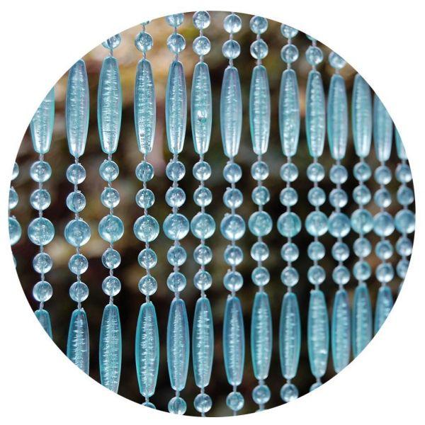 rideau de porte en perles bleues et transparentes frejus 100x230 cm
