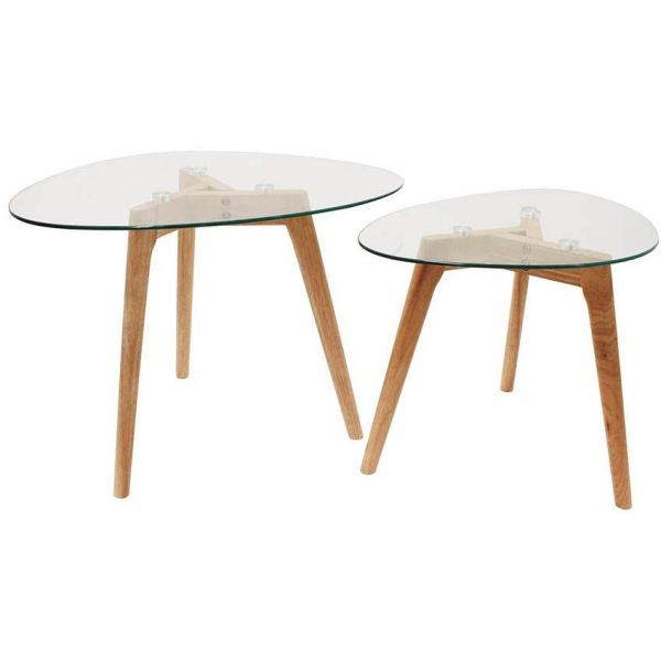 tables gigognes galets plateaux en verre trempe lot de 2