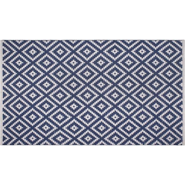 tapis en polyethylene recycle chanler bleu 150 x 90 cm