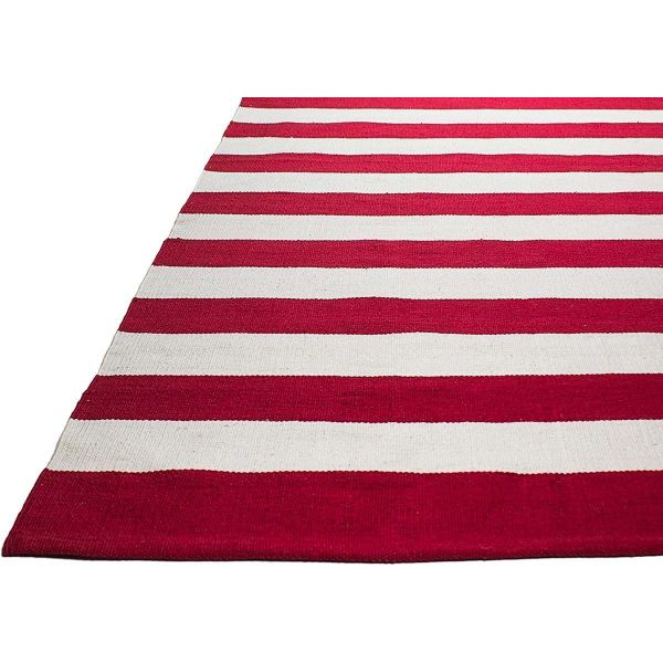 tapis en polyethylene recycle nantucket rouge et blanc 90 x 60 cm