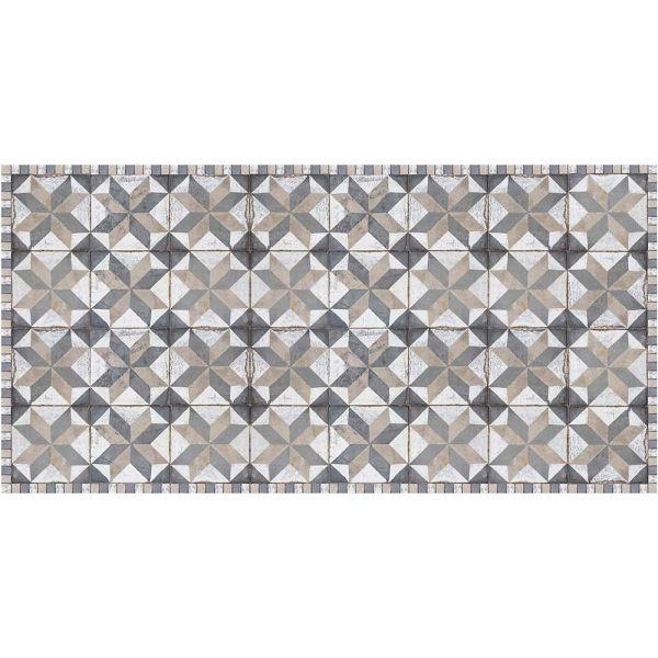 tapis interieur exterieur en vinyle carreaux de ciment 70 x 140 cm