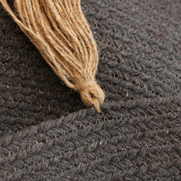 tapis rond en coton pompons 90 cm anthracite