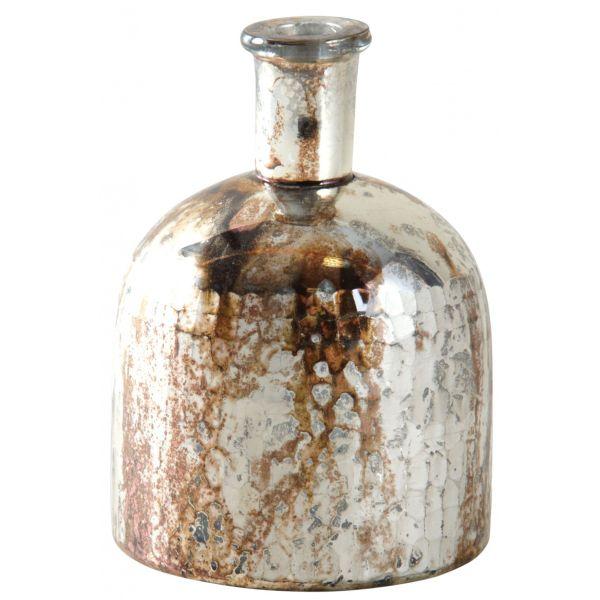 Vase flacon en verre antique indu petit
