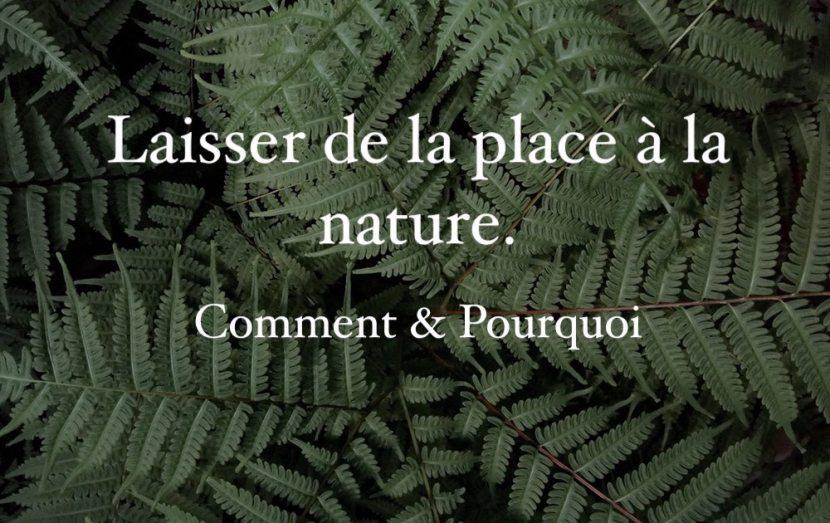 Quelle place laisser à la nature, comment et pourquoi ?