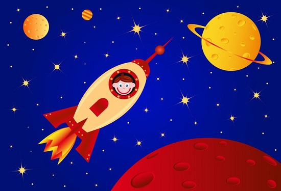astronaut boy in the rocket in the universe