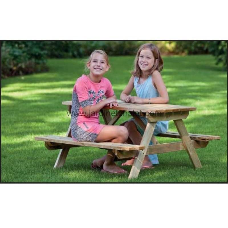 table de pique nique enfant en bois pin impregne jardin chalet