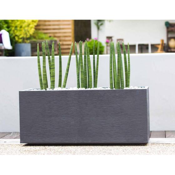 bac a fleurs rectangulaire bas 98 litres gris anthracite
