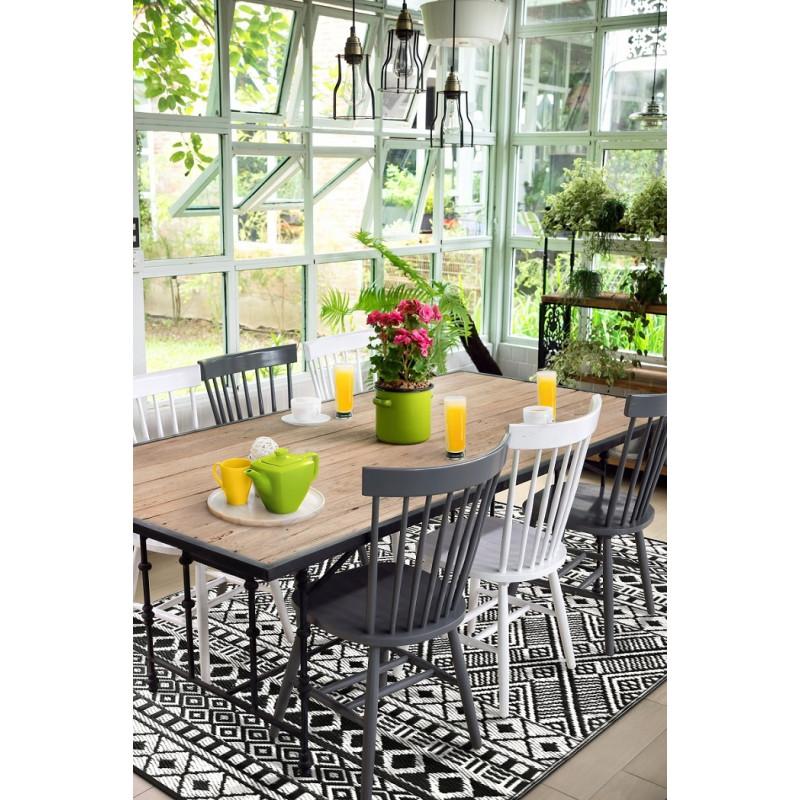 tapis d exterieur pour terrasse noir et blanc 120 x 180 cm