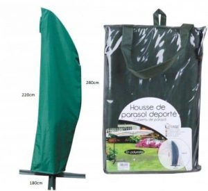 autre marque dc propose la housse pour parasol excentre novy de couleur verte et de forme banane parfaite pour les parasols jusqua cm et les