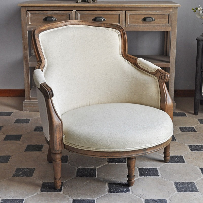 fauteuil chene lin style louis xv