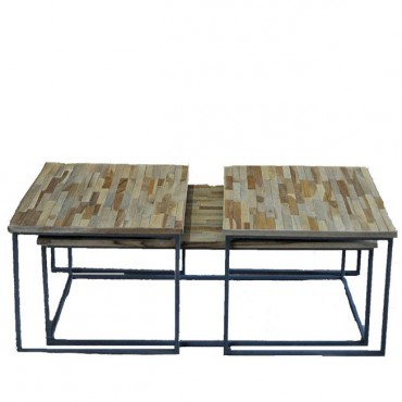 ensemble 3 tables basses gigognes 120x55x42 cm