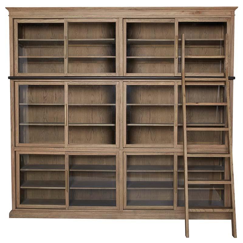 bibliotheque portes coulissantes chene 260x45x240cm