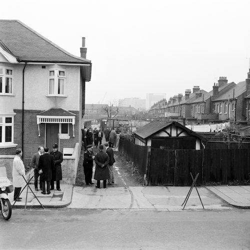 Criime Scene in Brentford where the body of Helene Barthelemy was found earlier today 24th April 1964.  Pictured: Police surround alley in Swyncombe Avenue Brentford.   Helene Barthelemy was a confirmed victim of serial killer known as 'Jack the Stripper' who was operating in London 1964-1965 and killed 6-8 women prostitutes & dumped their bodies around london or in the River Thames.  The serial killer has never been caught.