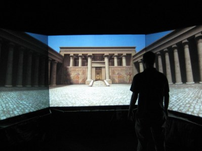 Viewing stereoscopic Virtual Egyptian Temple using Jeffrey Jacobson's CAVEUT with NVIDIA stereo drivers