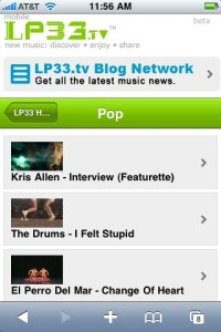 LP33 Mobile Pop Channel on iPhone
