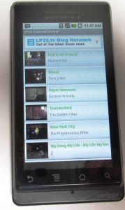 LP33.TV Android App Running on Motorola Droid