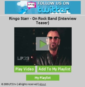 Video Playback Menu Featuring Ringo Starr Interview
