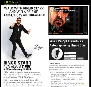 LP33.TV Ringo Starr Giveaway Contest Site