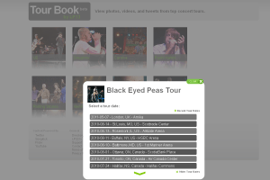LP33 Tour Book Black Eyed Peas Tour Date Menu