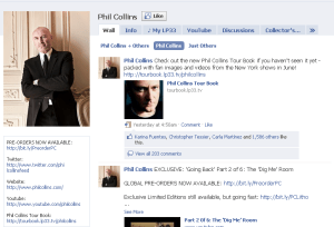 LP33 Tour Book Phil Collins Page Quickly Receives Over 1500 Likes on Facebook and 203 Comments