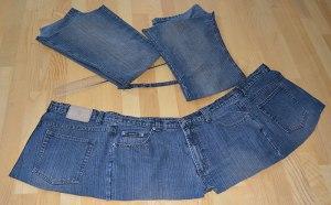 uppklippta jeans