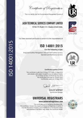 JASH TECHNICAL SERVICES LLC ISO 14001