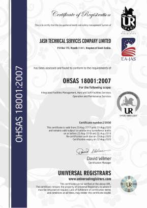 JASH TECHNICAL SERVICES LLC ISO OHSAS 18001-2007