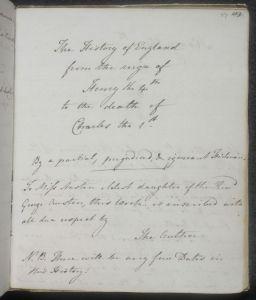 Jane Austen, History of England