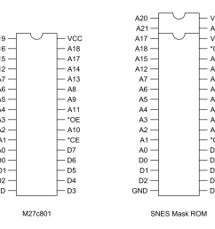 comparison of m27c801 eprom and original snes mask rom pinouts [ 1000 x 800 Pixel ]