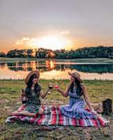 Sunset wine lake view