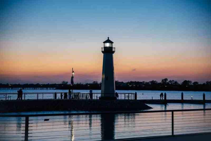 sunset on lake ray hubbard with lighthouse