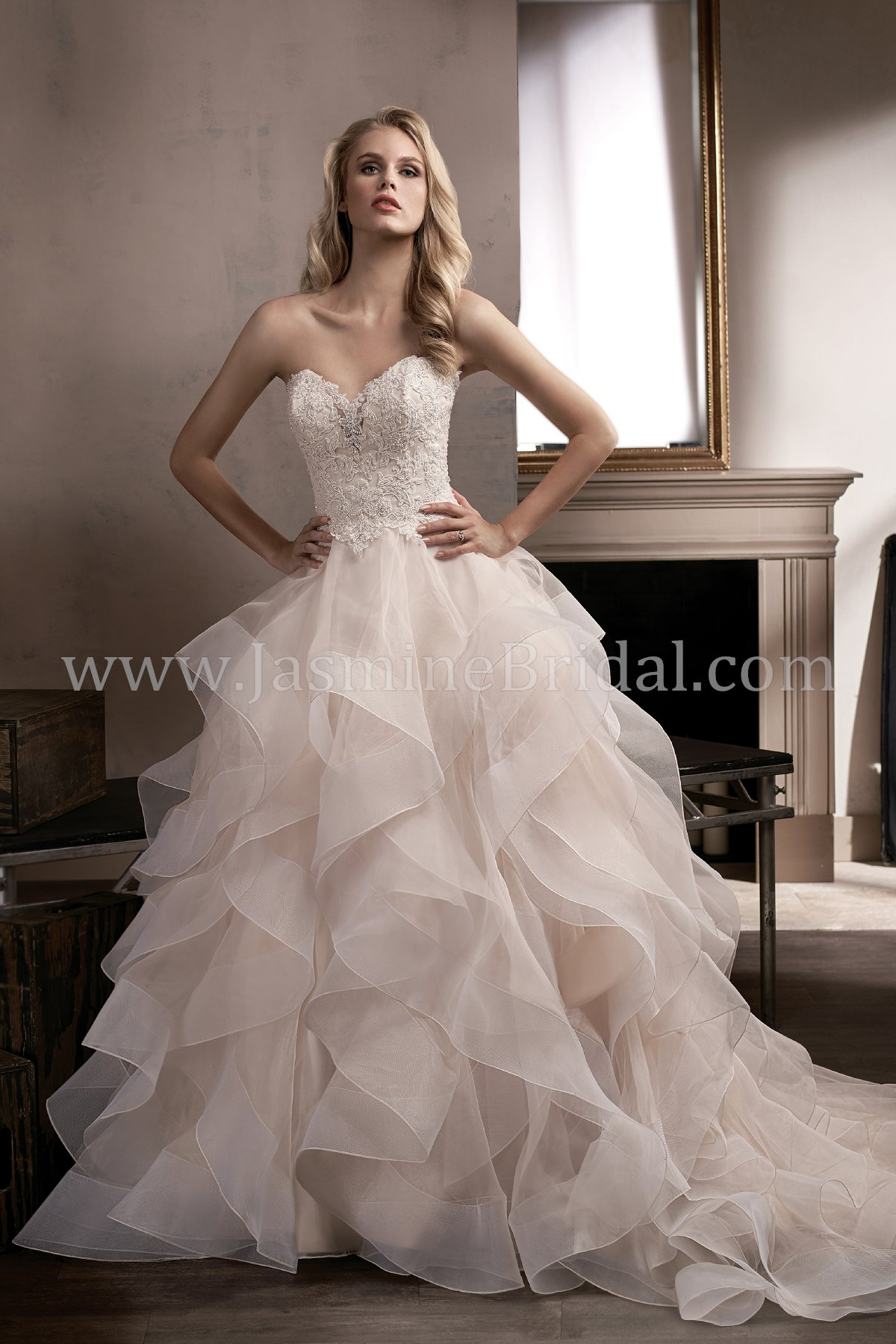 T192010 Sweetheart Strapless Lace Bodice and Organza