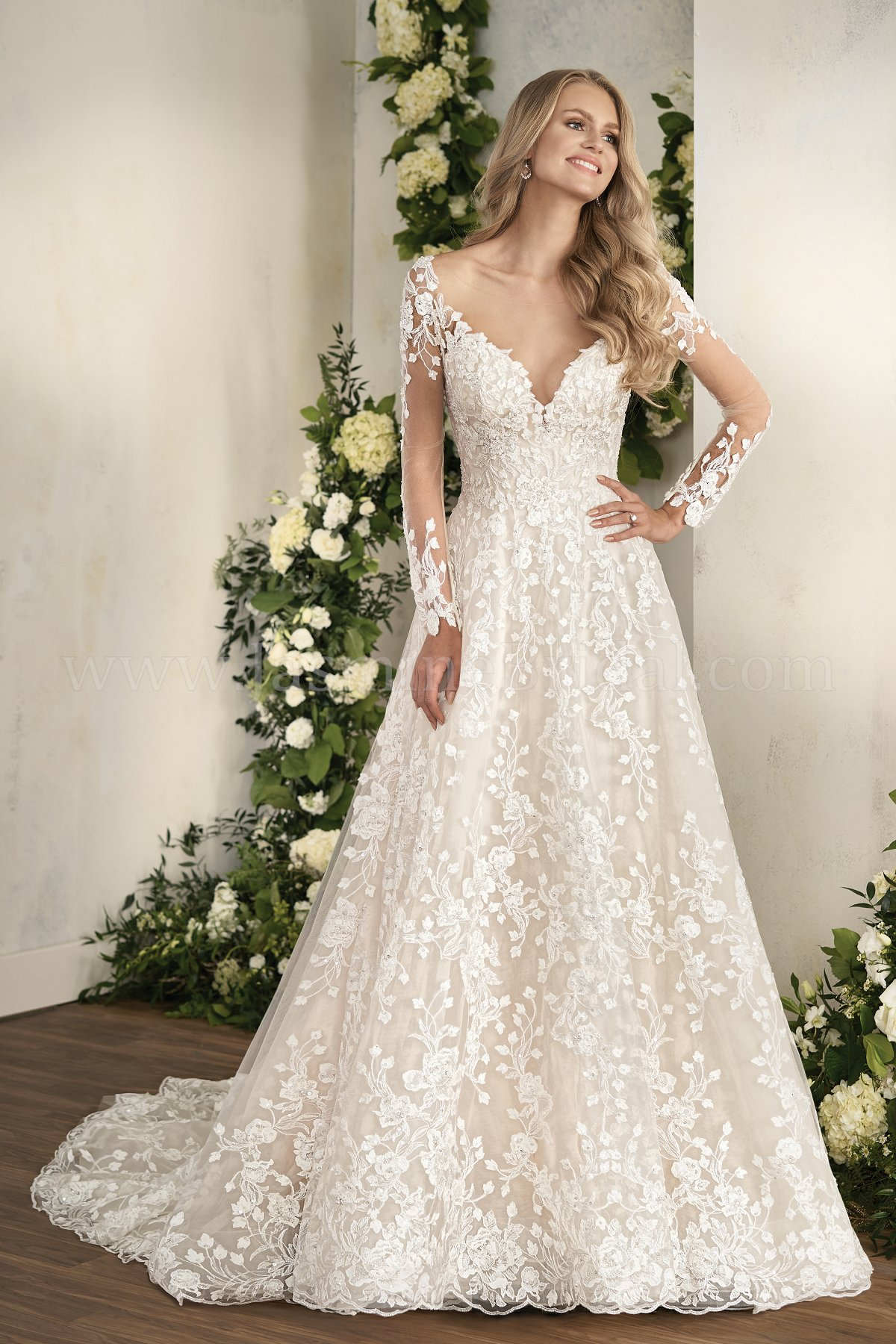 T202012 Illusion Neckline Embroidered Lace Ball Gown Wedding Dress with Illusion Sleeves