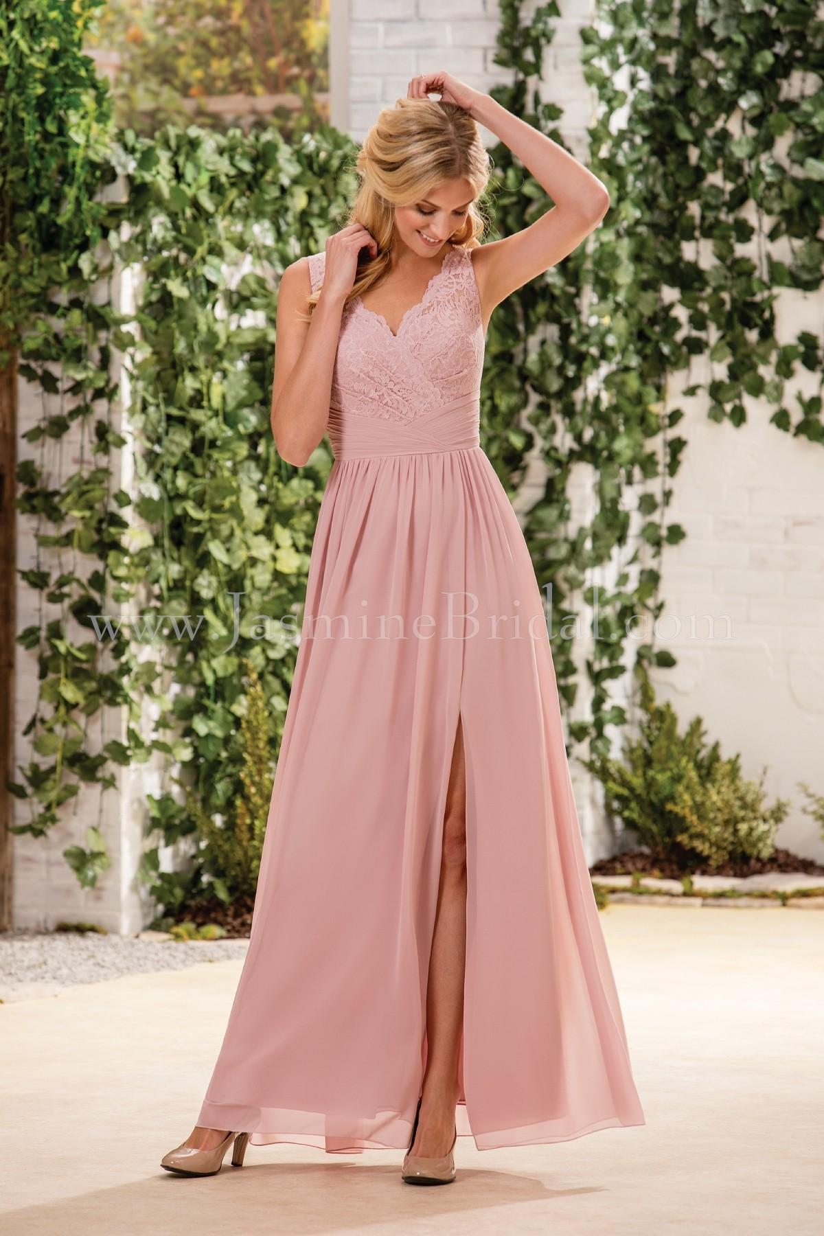 B183060 Long Vneck Lace  Poly Chiffon Bridesmaid Dress