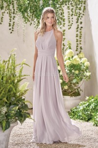 B193009 Long Illusion Neckline Poly Chiffon Bridesmaid Dress