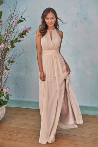 B203004 Long Halter Neckline Poly Chiffon Bridesmaid Dress ...