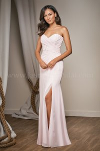L204002 Long Sweetheart Strapless Bridesmaid Dress with Slit