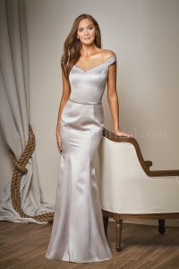 L204011 Long Off-the-Shoulder Marquis Satin Bridesmaid Dress
