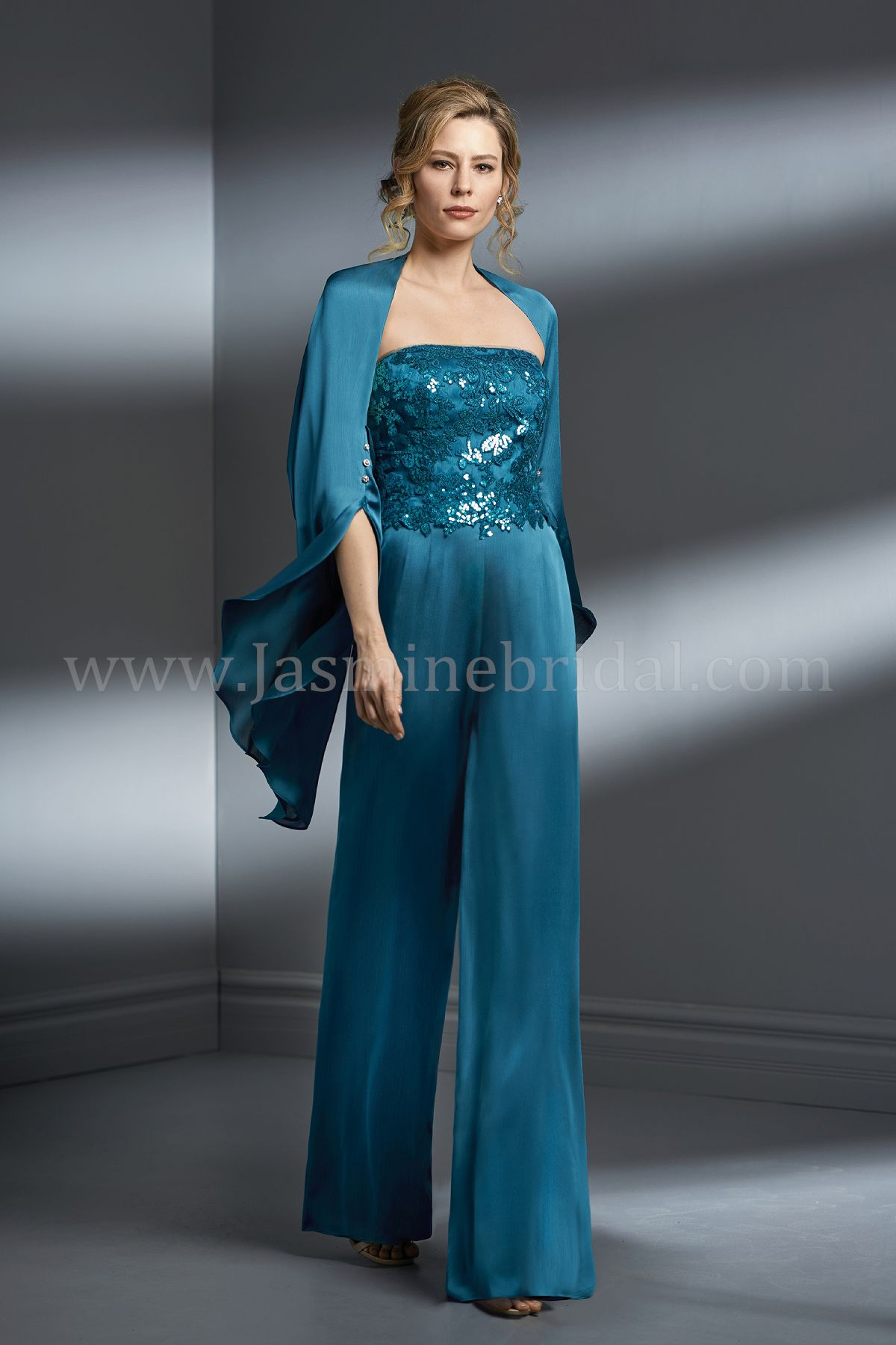 K198067 Strapless Sequin Lace Amp Satin Face Chiffon Mob Wide Leg Pant Suit With Shawl