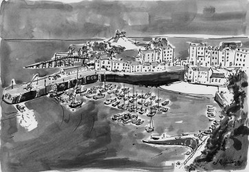 Tenby Harbour - Ink Drawing