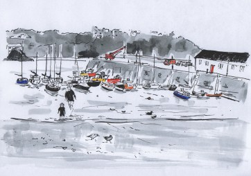 Paddling at Tenby Harbour - mixed media